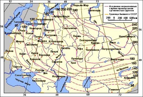 Карта промерзания грунта. Нормативная глубина сезонного промерзания грунта