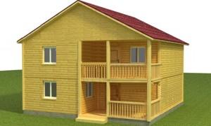 Готовый проект двухэтажного дома из бруса 8х8